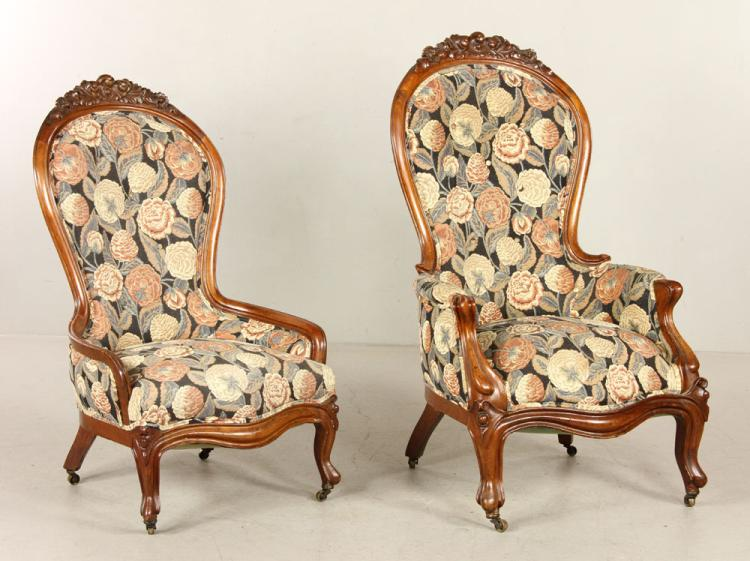 Two 19th C. Victorian Carved Chairs