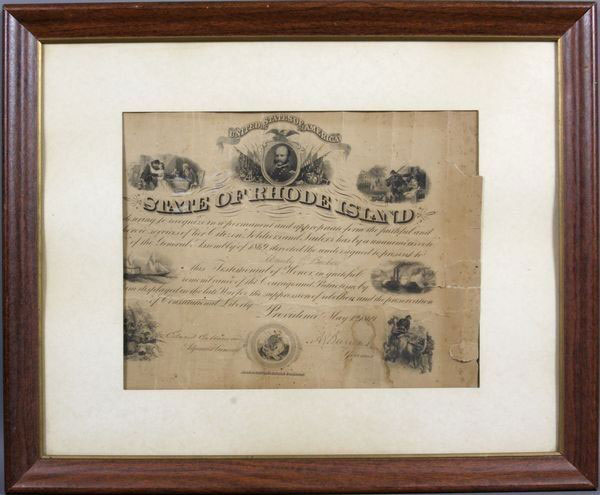 State of Rhode Island 1869 Signed Commission