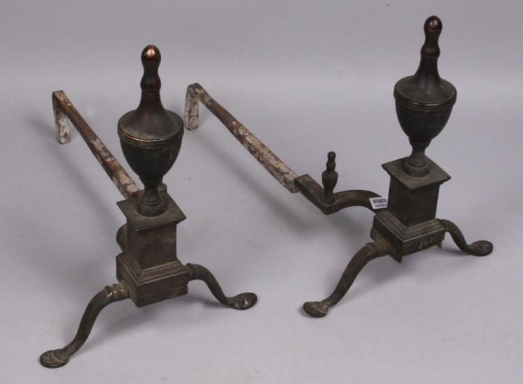 Pr. 19th C. Brass Andirons