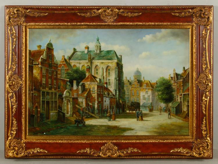 McKlaus, Dutch Street Scene, Oil on Canvas