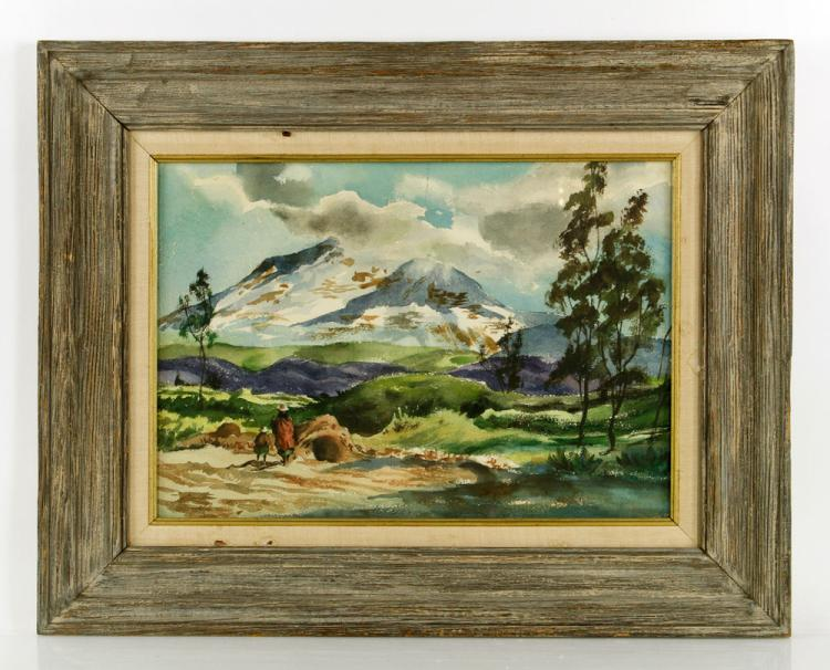 Mountain Landscape with Figures, Watercolor
