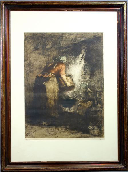 Woman and Child at Fireplace, Lithograph
