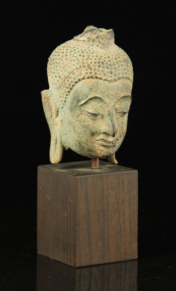 18th C. Thai Bronze Buddha Head