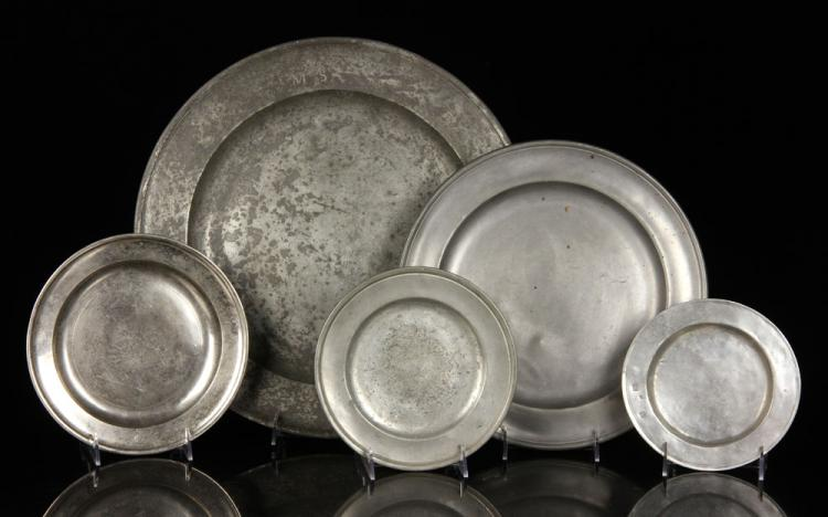 5 Pewter Plates