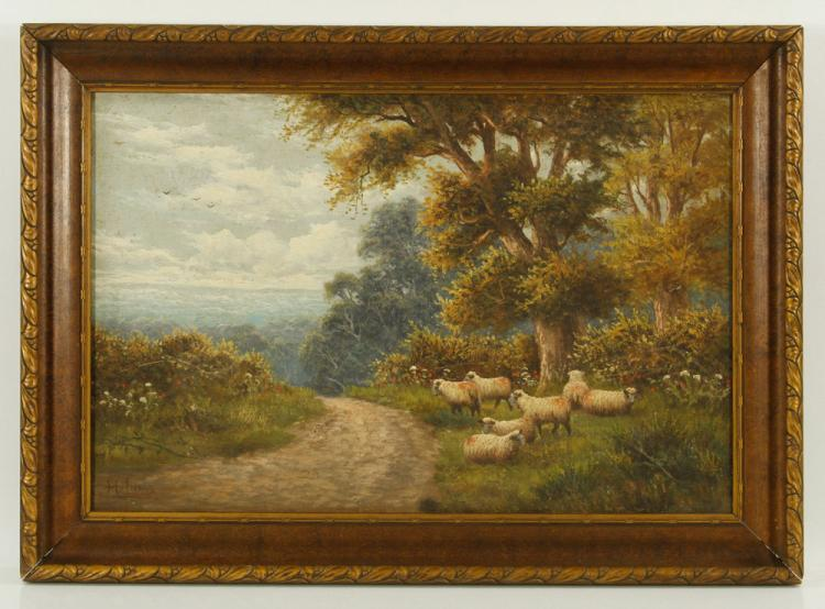 Vivens, Flock of Sheep, Oil on Canvas