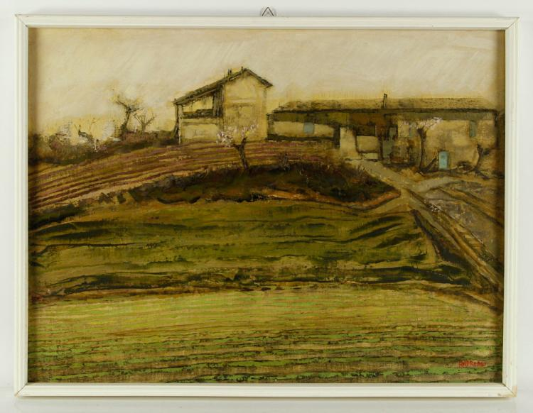 Andreani, Farmhouse Scene, Oil on Canvas