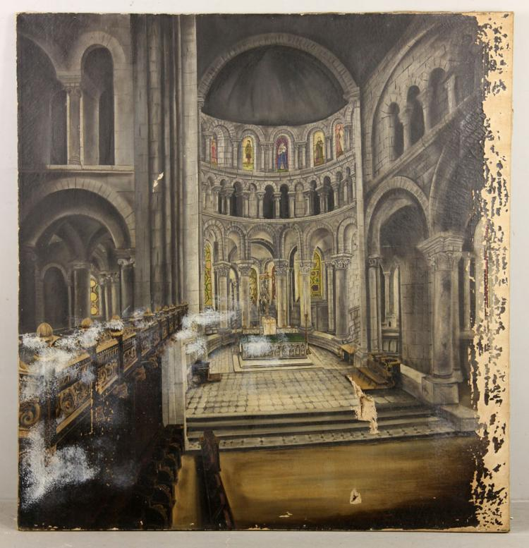 Interior of a Church, Oil on Canvas