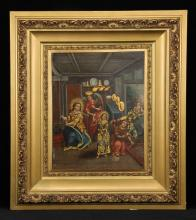 19th C. European School, The Holy Family, Oil on Canvas