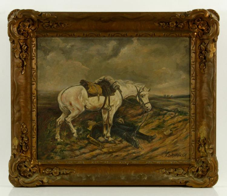 Markasse, Horse with Fallen Soldier, Oil on Canvas
