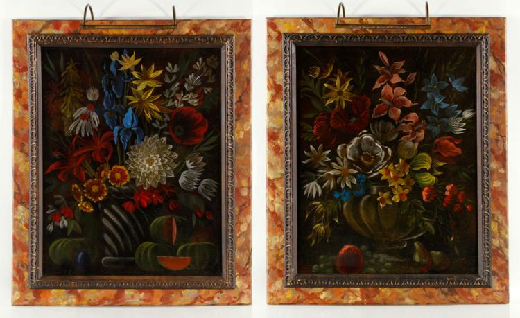 Pr. Floral Still Lifes, Oil on Canvas