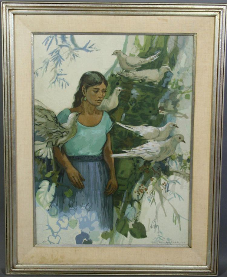 Whitaker, Young Girl with Doves, Serigraph