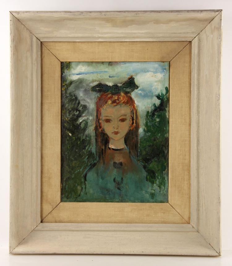 Mid Century Portrait of Girl, Oil on Board
