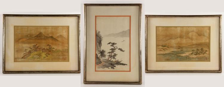 3 Japanese Landscape Paintings
