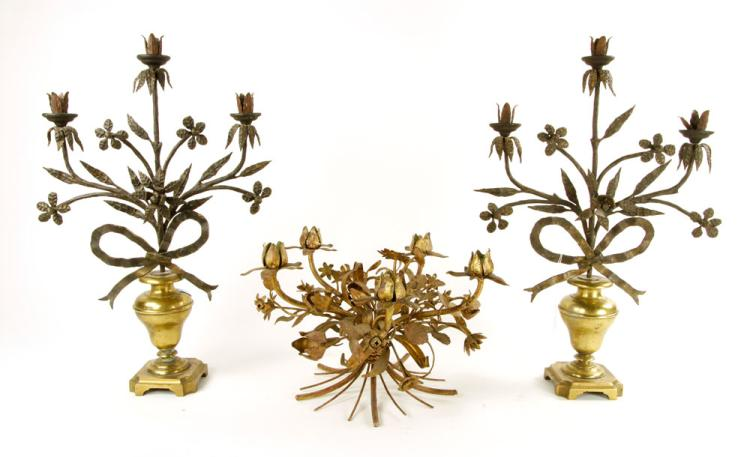 18th to 19th C. Candlesticks and Centerpiece