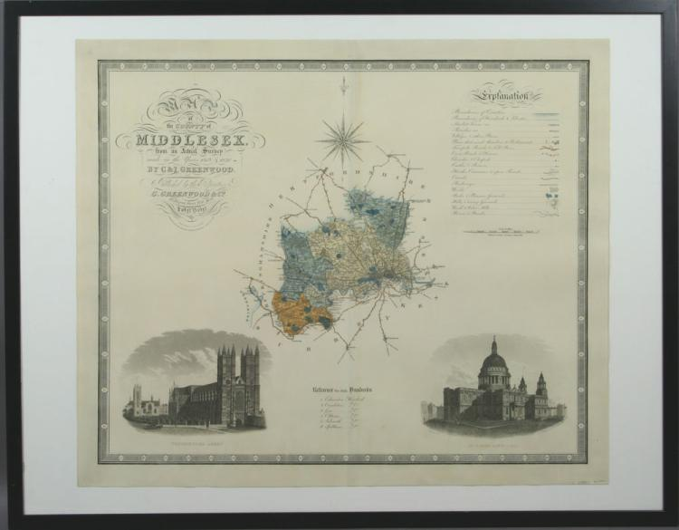 19th C. Map of Middlesex County, England, Print