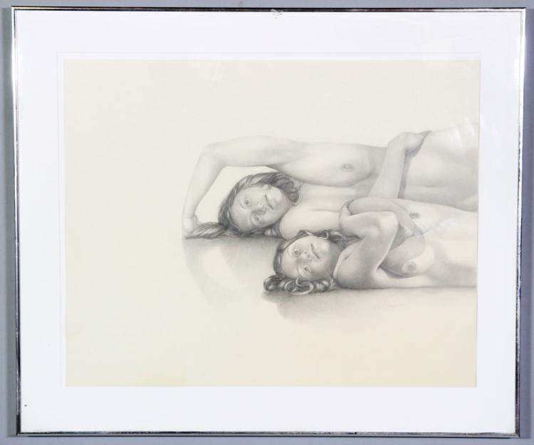 Schneider, Two Female Nudes, Pencil