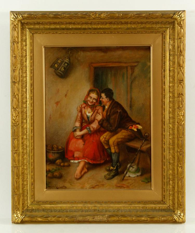 Roberts, Courting Scene, Oil on Canvas
