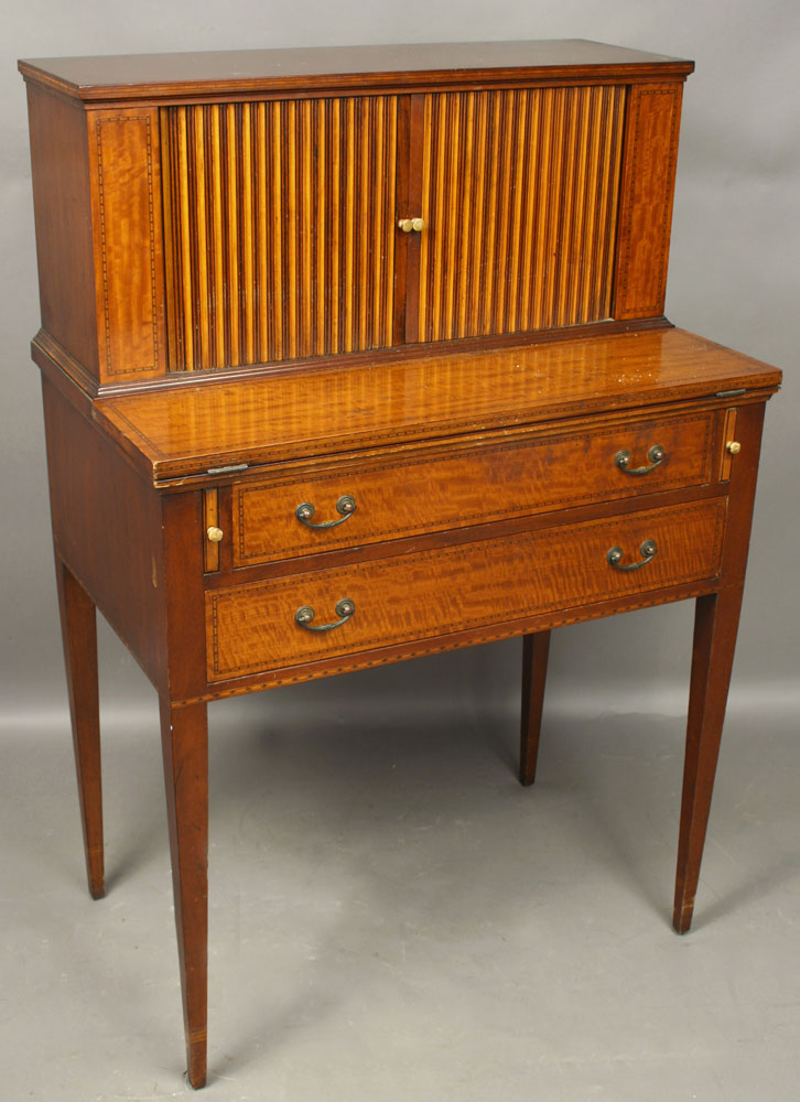 20th C. Mahogany Tambour Desk