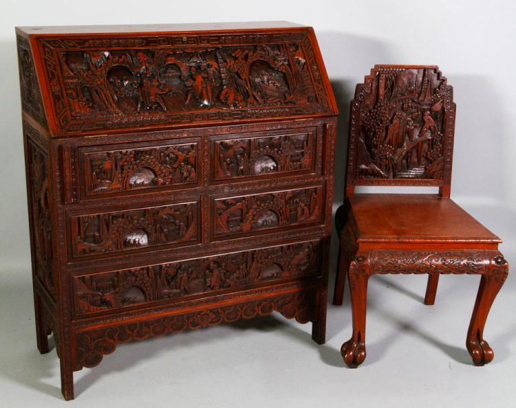Chinese Export Slant Lid Desk and Chair