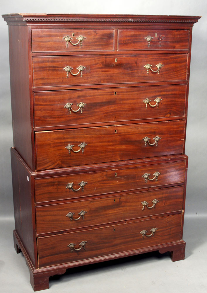 18th to 19th C. Georgian Chest on Chest