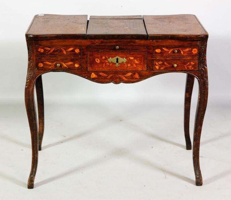 18th C. Dutch Marquetry Queen Anne Boudoir Table