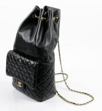 Chanel Ladies' Black Leather Bucket Bag