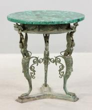 Russian Malachite Top Bronze Round Table