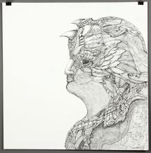 Treadway, Raven Head, Indian Ink Drawing