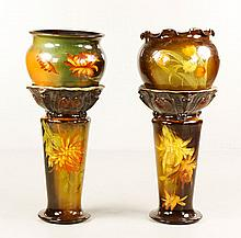 Two Weller Louwelsa Jardinière and Pedestals