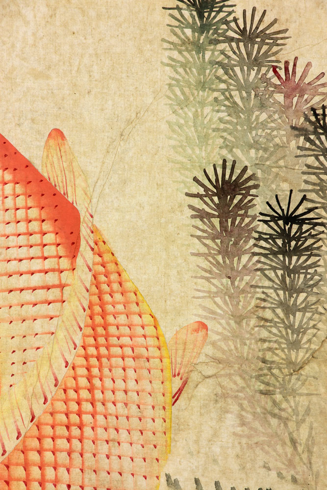 Koi fish chinese watercolor painting for Chinese art koi fish