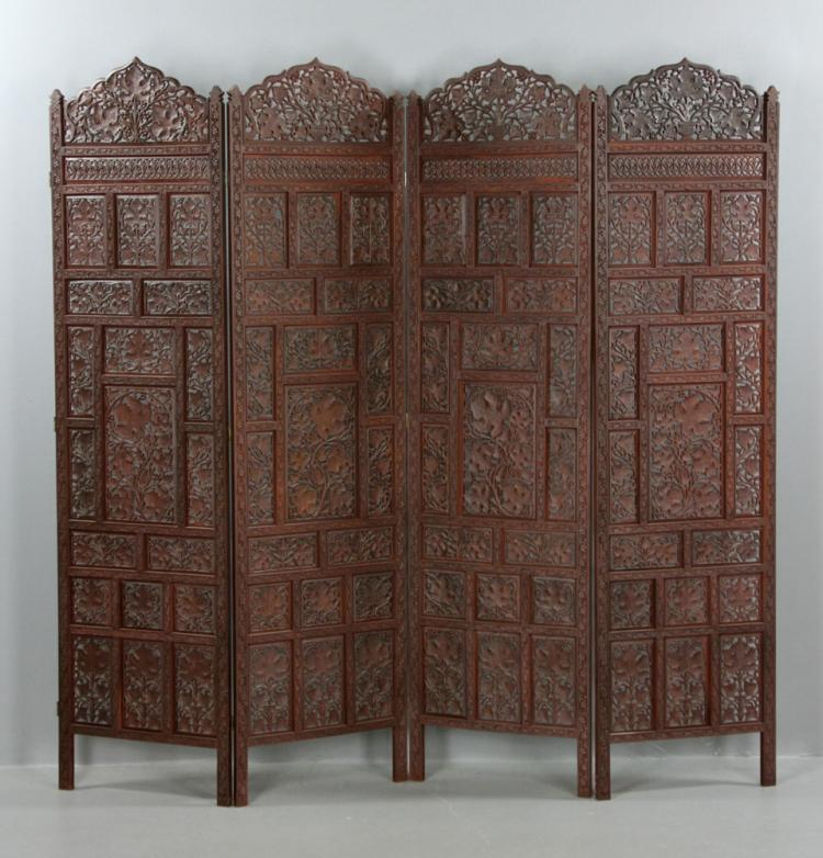 Antique indian carved four panel dressing screen for South asian furniture