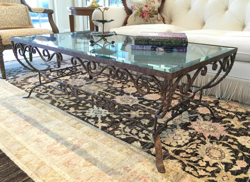 Sold Price Glass Top Wrought Iron Coffee Table Invalid Date Edt