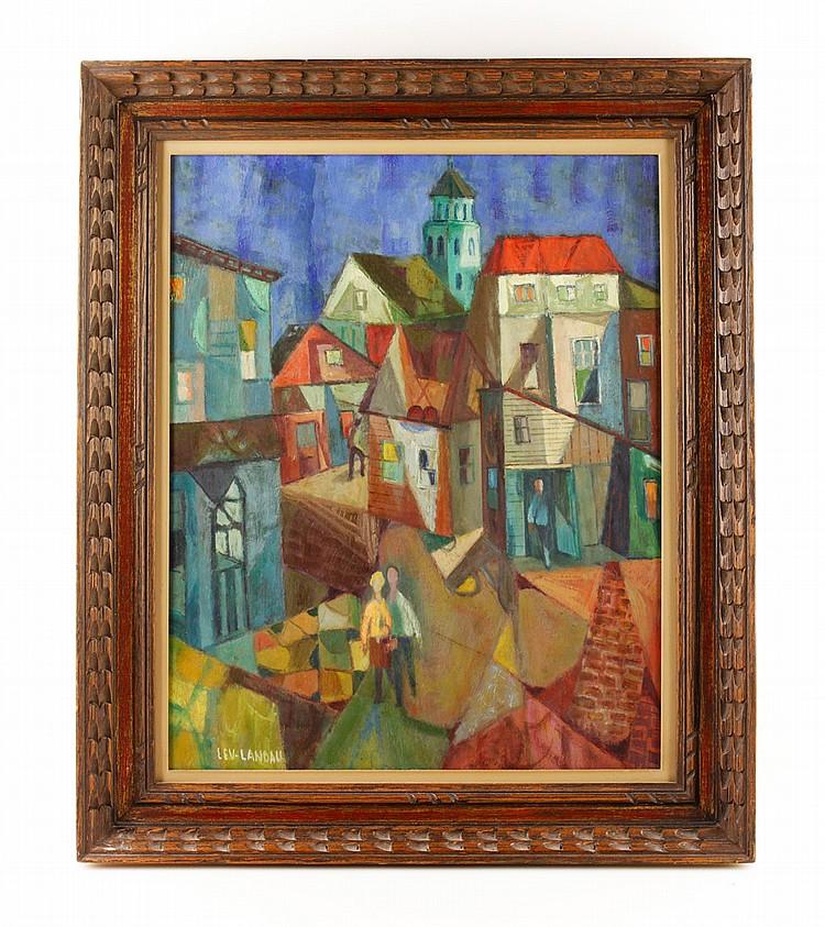 Lev-Landau, Cubist Cityscape, O/C