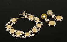 14K Yellow Gold Bracelet and Earrings