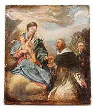 17th C. Italian, St. Dominic Receiving the Rosary, O/C