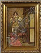 19th C. Italian, Interior Scene, o/c, L. Conconi, Luigi Conconi, Click for value