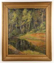 Vognild, Wooded River, Oil on Canvas
