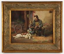 Brown, Genre Painting, Oil on Canvas
