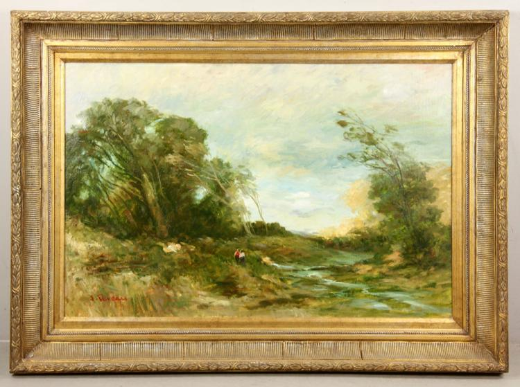Deveau, Impressionist Scene, Oil on Canvas