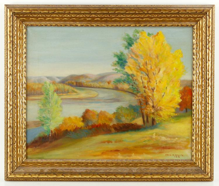 White, Fluvial Landscape, Oil on Canvas