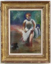 Guy Pene Du Bois, Girls Wading with Dog
