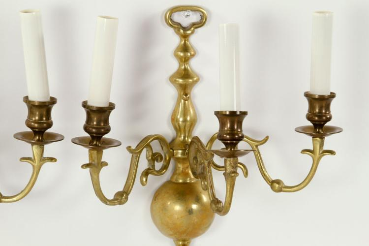 Pr. Colonial Brass Wall Sconces