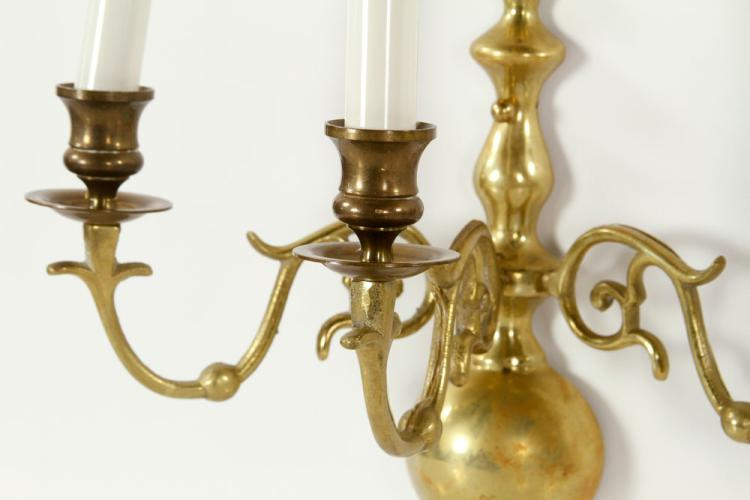 Colonial Brass Wall Sconces : Pr. Colonial Brass Wall Sconces
