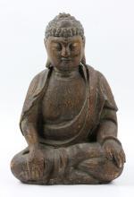 19th C. Chinese Carved Poplar Sitting Buddha