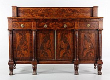 19th C. Figured Mahogany Sideboard
