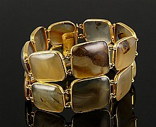 14K Gold and Agate Double Link Bracelet
