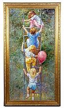 Children Climbing a Ladder, O/C