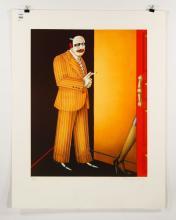 Okshteyn, Man Smoking, Lithograph