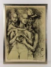 Philip Evergood, 3 Figures, Lithograph