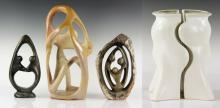 3 Modernist Carved Stone Sculptures